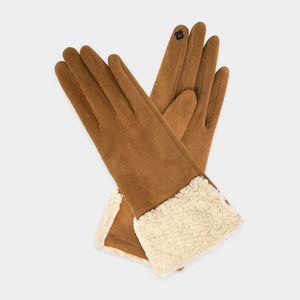Wrist Fur Accent Faux Suede Smart Gloves